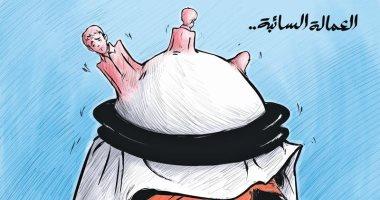 كاريكاتير صحيفة كويتية.. العمالة صداع فى دماغ الكويت