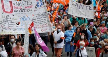 """غضب العاملين بالقطاع الصحى فى فرنسا ..احتجاجات فى نانت لتحسين ظروف عملهم """"صور"""""""
