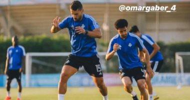 عبد الله السعيد ينشر صورة من تدريبات بيراميدز بصحبة عمر جابر