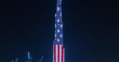 برج خليفة يتزين بالعلم الأمريكى بالتزامن مع احتفالات عيد الاستقلال