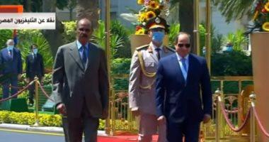 فيديو.. الرئيس السيسى يستقبل نظيره الإريتيري أسياس أفورقى بقصر الاتحادية