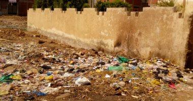 شكوى من تراكم القمامة بجوار سور الوحدة الصحية بقرية مشيرف فى المنوفية
