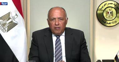سامح شكرى: تحقيق استقرار ليبيا يتطلب تشكيل حكومة توافقية وتفكيك الميليشيات
