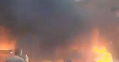 فيديو.. اللحظات الأولى لاندلاع حريق سوق توشكى فى حلوان