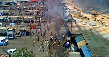 مصدر: ماس كهربائى وراء حريق سوق توشكى بحلوان والمعمل الجنائى يحدد الخسائر