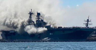 """""""جحيم فوق الماء"""" ودرجة الحرارة 1000..سفينة أمريكية تتحول لكتلة لهب..فيديو"""