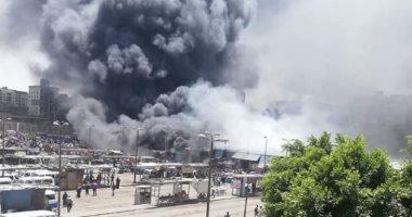 صور وفيديو.. حريق هائل داخل سوق توشكى فى حلوان.. والإطفاء تحاول إخماده