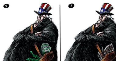 كاريكاتير صحيفة سعودية.. التدهور الاقتصادي وانهيار البورصة يهددان أمريكا