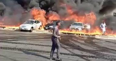 المباحث تستمع لأقوال شهود العيان حول حريق ماسورة مواد بترولية بطريق الإسماعيلية