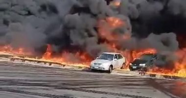 """فيديو.. لقطات صادمة لحريق خط البترول بطريق """"القاهرة ـ الإسماعيلية"""""""