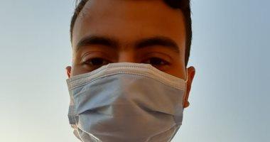 """""""محمد"""" طالب بجامعة الزقازيق يشارك بصورته بالكمامة التزاما بإجراءات الوقاية"""