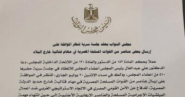البرلمان يوافق على إرسال عناصر من القوات المسلحة فى مهام قتالية خارج البلاد