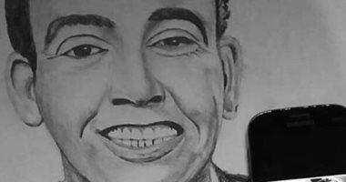 """""""محمود"""" من المنيا يشارك """"اليوم السابع"""" موهبته في الرسم بصور مميزة للفنانين"""
