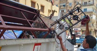 حملات إزالة للإشغالات والتعديات على حرم الطريق بشوارع حى ثان طنطا