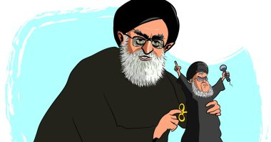 كاريكاتير صحيفة سعودية.. روحانى يتحكم فى حزب الله