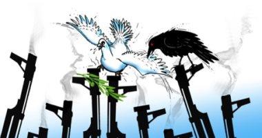كاريكاتير صحيفة سعودية.. استخدام السلاح يدمر السلام حول العالم