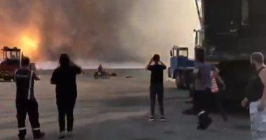 فيديو جديد يرصد لحظة انفجار مرفأ لبنان من بدايته وإطاحة التفجير بالعمال