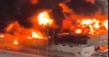 فيديو جديد لـ حريق سوق عجمان الشعبى بالمنطقة الصناعية فى الإمارات