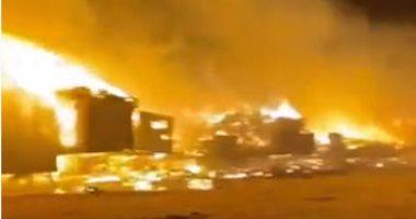 الدفاع المدنى السعودى يسيطر على حريق كبير بحفر الباطن.. فيديو
