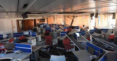 """سفير مصر بلبنان يتفقد مبنى جريدة """"النهار"""" بعد تضرره من انفجار بيروت"""