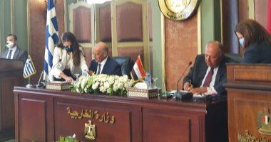 وزير الخارجية سامح شكرى يوقع مع نظيره اليونانى اتفاقية تعيين الحدود البحرية