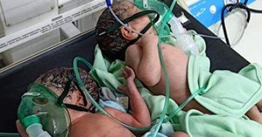 مصابة بكورونا تنجب 3 توائم بمستشفى ناصر فى بنى سويف.. صور
