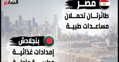 انفوجراف.. بعد انفجار بيروت.. دول ومنظمات تدعم لبنان