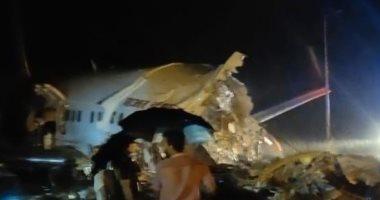 صور وفيديو.. الشرطة الهندية: مصرع 14 وإصابة 123 فى حادث تحطم طائرة الركاب