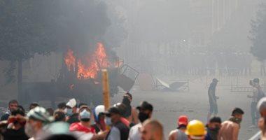 مواجهات بين متظاهرين وقوات الأمن اللبنانى فى محيط البرلمان وسط بيروت