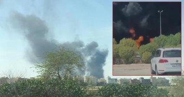 حريق بصهريج وقود على طريق الجهراء بالكويت..فيديو