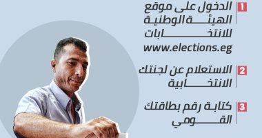 إزاى تعرف مكان لجنتك الانتخابية عبر الإنترنت × 4 خطوات (إنفو جراف)