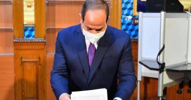 الرئيس السيسى يدلي بصوته في انتخابات مجلس الشيوخ