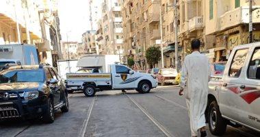أمن الإسكندرية يغلق الطريق المؤدى للعقار المنهار