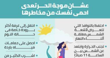 عشان موجة الحر تعدى.. احمى نفسك من مخاطر أشعة الشمس.. إنفو جراف