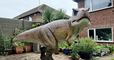 بريطانى يفاجئ زوجته بمجسم ديناصور 3.5 متر فى فناء منزلهما.. صور
