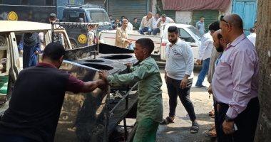 رفع وإزالة إشغالات وتعديات فى حملة بمدينة ناصر ببنى سويف