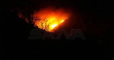 صور.. استمرار اشتعال النيران فى محمية الشوح بريف اللاذقية بسوريا