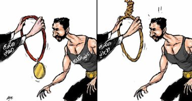 كاريكاتير اليوم.. إيران تكرم المصارع نافيد أفكاري بحبل المشنقة