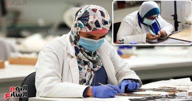 المعمل الكيماوى يفحص مواد مخدرة ضبطت بحوزة عاطل قبل ترويجها فى الجيزة