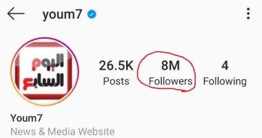 """شكرا قرائنا.. اليوم السابع يصل لـ 8 ملايين متابع على """"إنستجرام"""""""