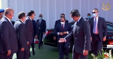 """الرئيس السيسي يصل مقر افتتاح مجمع """"التكسير الهيدروجينى"""" فى مسطرد"""