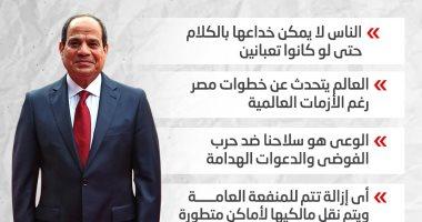 رسائل الرئيس السيسى للشعب فى افتتاح مجمع التكسير الهيدروجينى.. إنفوجراف