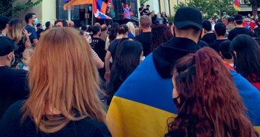 مئات الأرمن الأمريكان يتظاهرون لمطالبة الكونجرس بإدانة هجوم أذربيجان