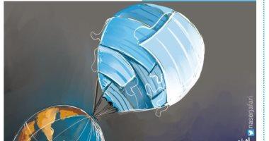 كاريكاتير صحيفة أردنية .. فيروس كورونا يصل الفضاء والكمامات تحجب الكواكب