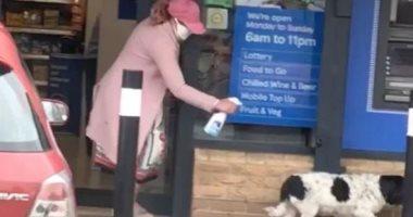 سيدة بريطانية ترش كلب برذاذ مضاد للبكتيريا أمام مركز تسوق خوفا من كورونا