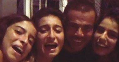 بنات عامر منيب يحتفلن بعيد ميلاد الهضبة عمرو دياب