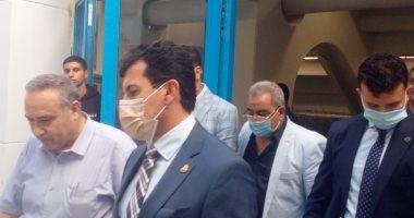 وزير الرياضة يتفقد استاد القاهرة استعداداً لمباريات الأهلى والزمالك الأفريقية
