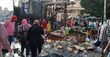 السيطرة على حريق فى سوق محطة مصر بالإسكندرية