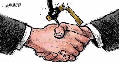 اتفاق وقف إطلاق النار بليبيا يكسر معول الهدم التركى فى كاريكاتير سعودى