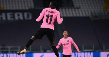 برشلونة يتفوق على يوفنتوس بهدف ديمبيلى فى الشوط الأول.. فيديو